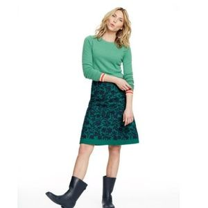 Navy and Green Embroidered Flower Skirt